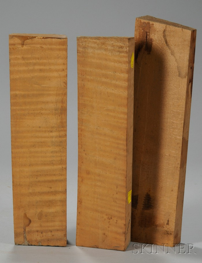 Three Quartersawn Maple Viola Neck Blocks.