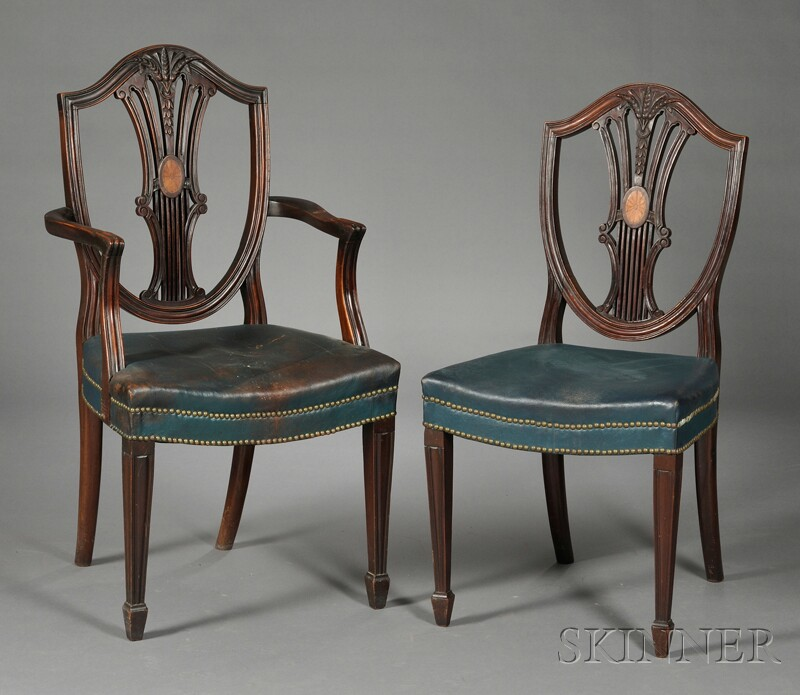 Twelve Hepplewhite-style Shield-back Mahogany Dining Chairs