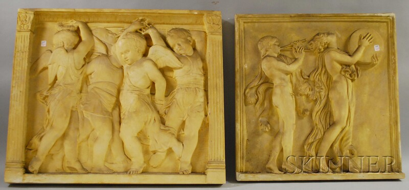 Two Classical Cast Plaster Relief Panels