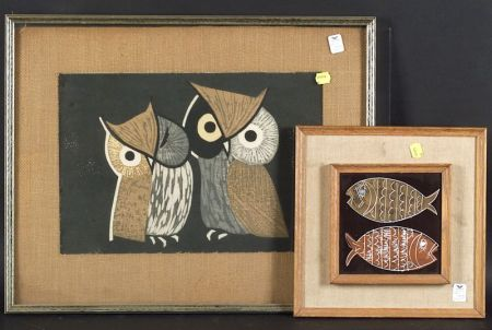 Lot of Two Works:   Kaoru Kawano (Japanese, 1916-1965), Two Owls; Harris G. Strong (American, 20th Century), Two Fish.