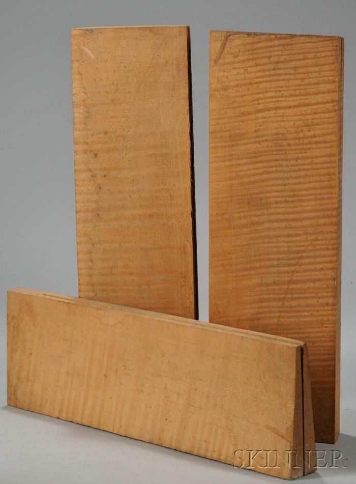 Three Two-Piece Quartersawn Maple Viola Backs, c. 1950