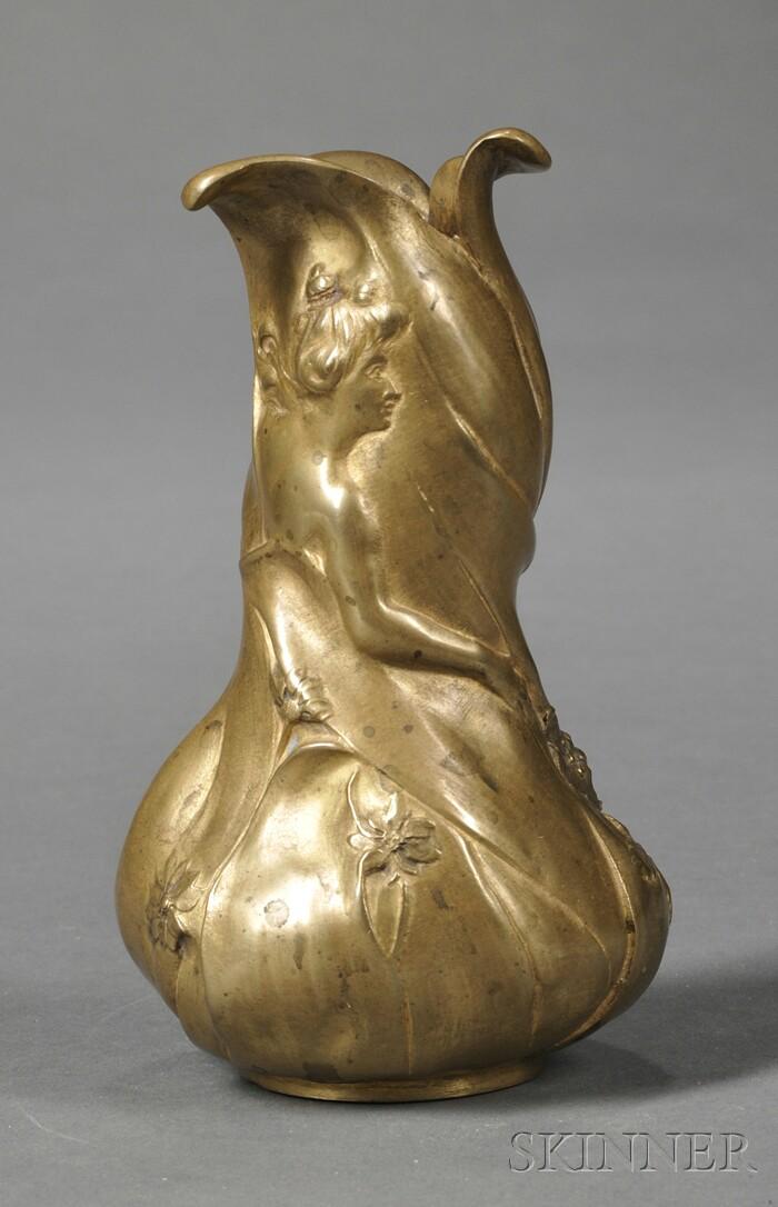 Art Nouveau Gilt-bronze Bud Vase