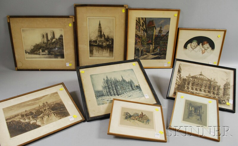 Nine Assorted Framed Etchings and Prints