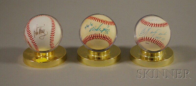 Three Boston Red Sox Player Autographed Baseballs