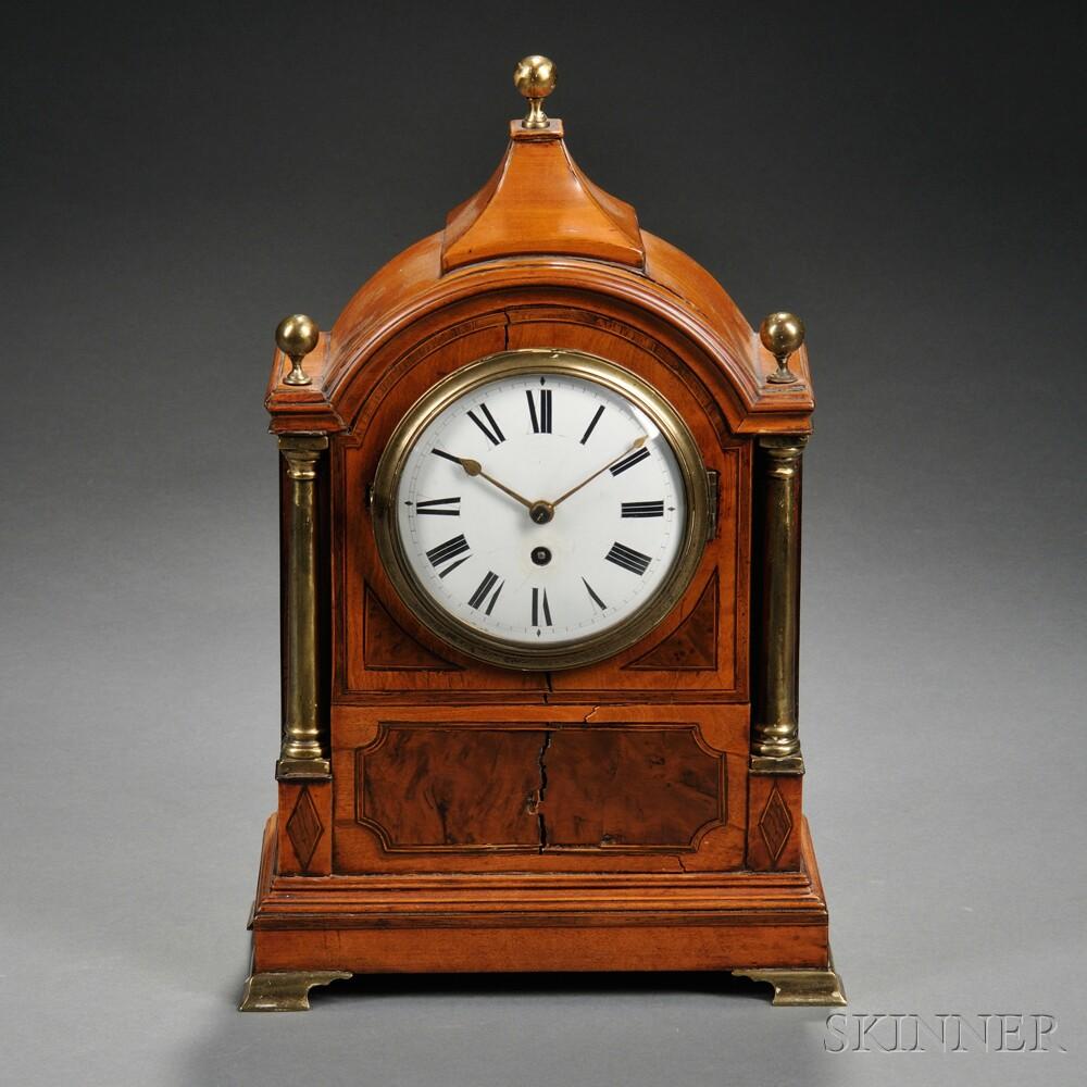 Fruitwood Veneered English Shelf Clock