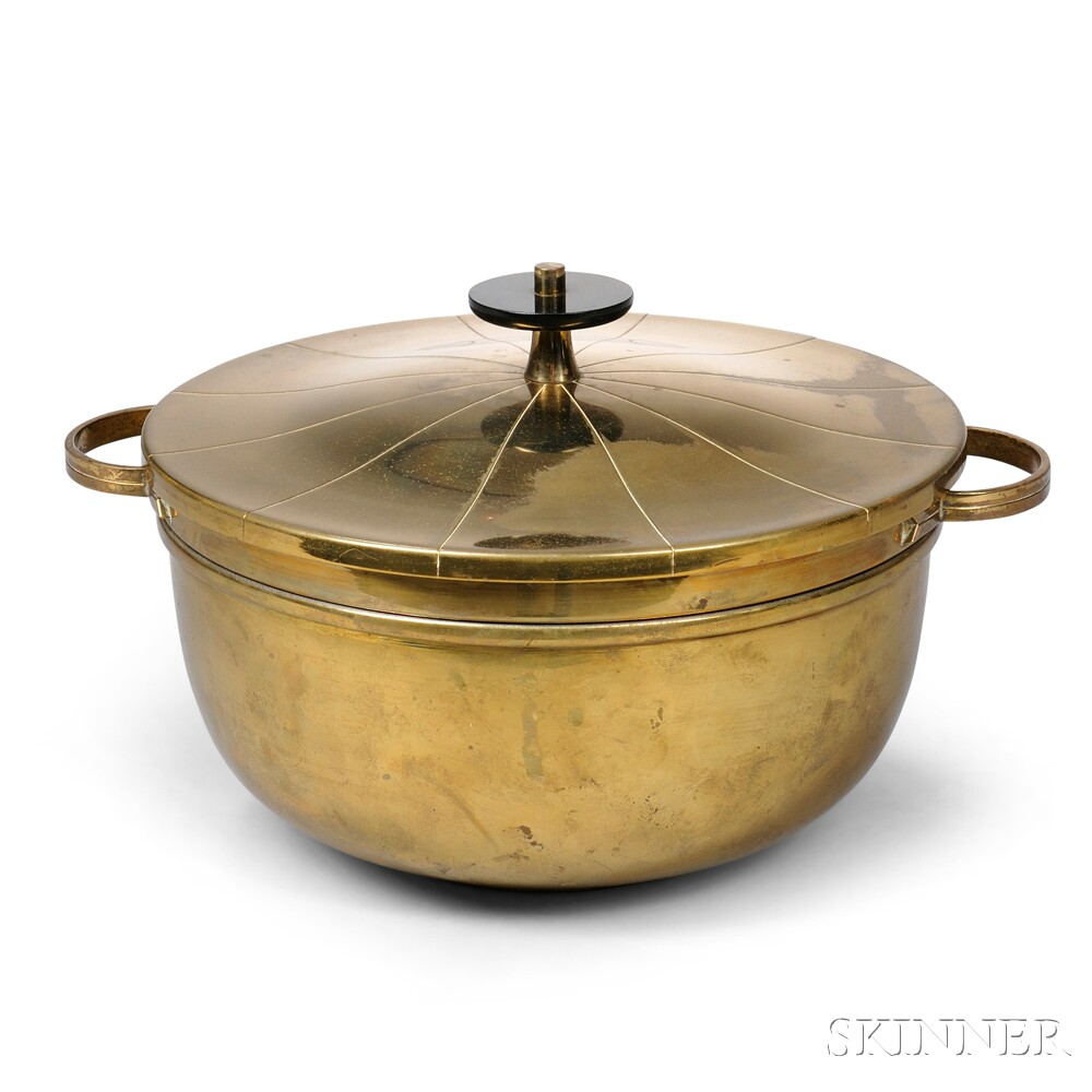 Tommi Parzinger (1903-1981) Lacquered Brass Chafing Dish for Dorlyn Silversmiths
