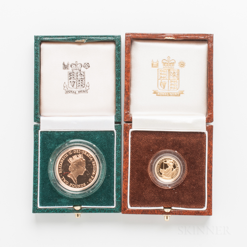 1986 British Proof Two Pound Gold Coin and Proof 10 Pound Britannia.     Estimate $600-800