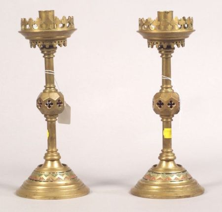 Pair of Bronze and Enamel Gothic Revival Candlesticks