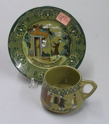 1911 Buffalo Pottery Emerald Deldare Ware Dr. Syntax Cup and a Saucer