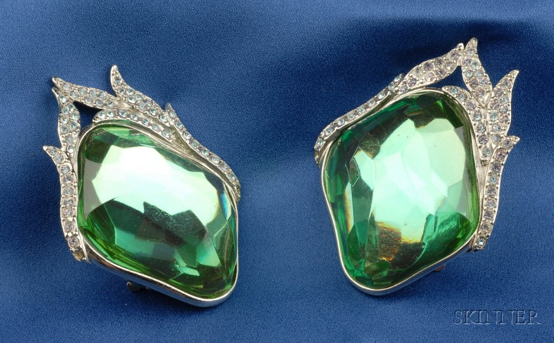Green Paste and Rhinestone Earclips, Yves Saint Laurent