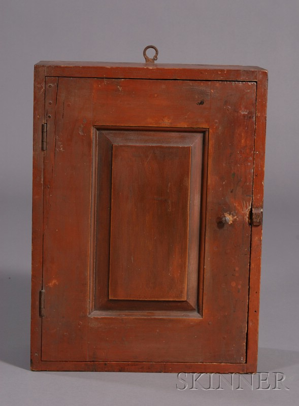 Red-painted Pine Paneled Wall Cupboard