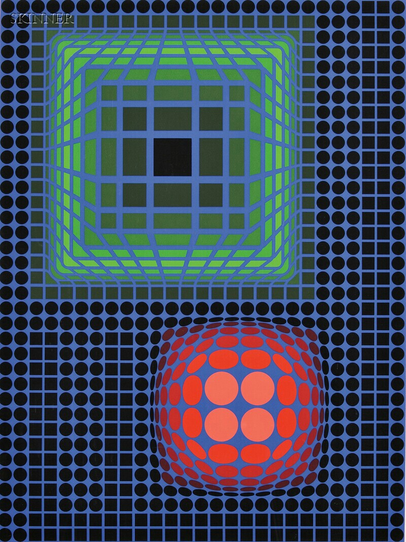 Victor Vasarely (French/Hungarian, 1906-1997)      Untitled (Green and Red on Blue)