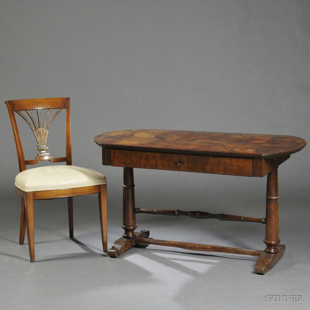 Continental Walnut-veneered Sofa Table