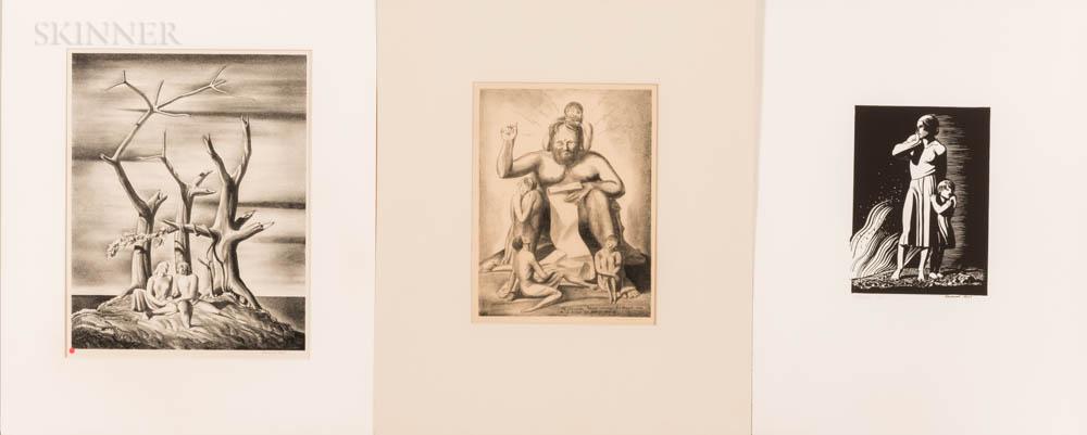 Rockwell Kent (American, 1882-1971)      Three Matted Prints: Beowulf: Genealogical Tree ,  Waldo Pierce