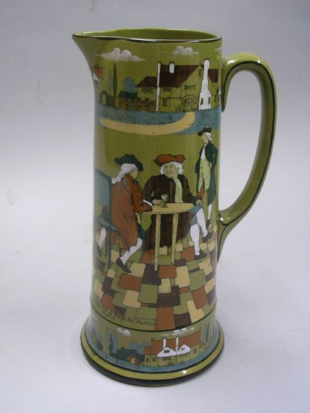"""1908 Buffalo Pottery Deldare Ware """"The Great Controversy,"""" """"All you have to do teach   the Dutchmen English,"""" Pitcher"""