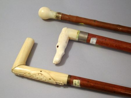 Group of Wooden Canes and Walking Sticks with Whalebone and Ivory Handles.