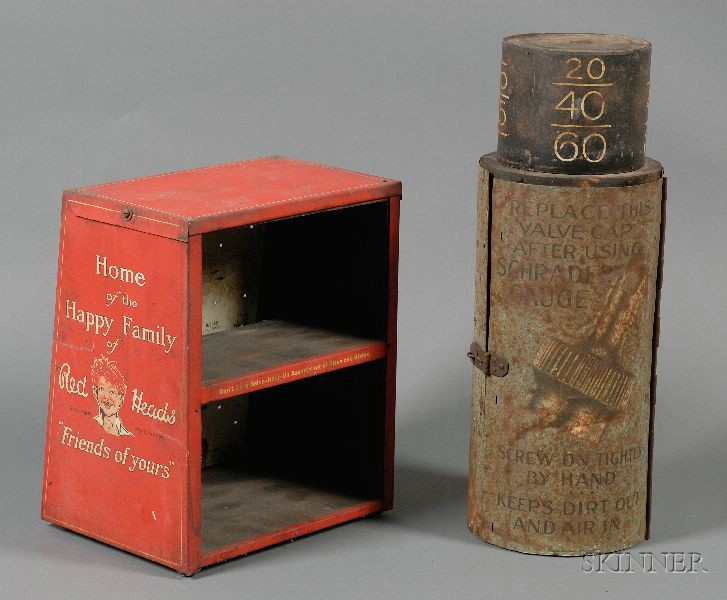 Red Heads Spark Plug and Tire Valve Display Tins.