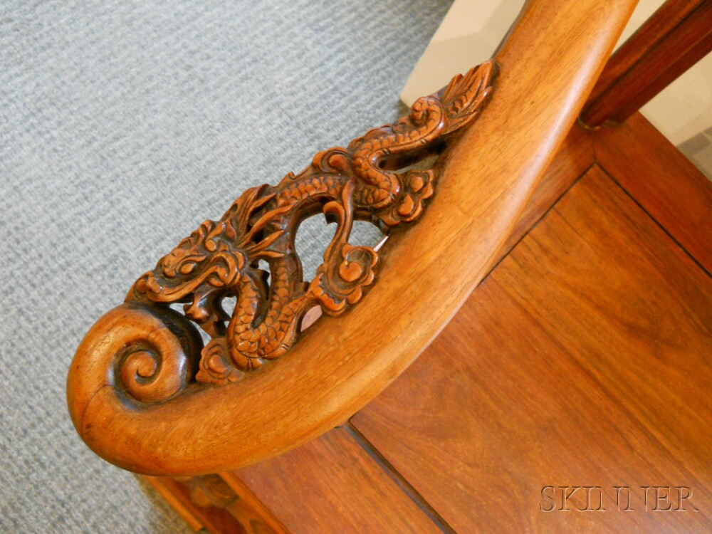 Horseshoe-back Armchair and a Hardwood Brush Pot