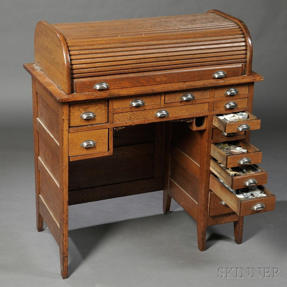 Oak Roll Top Watchmaker S Bench By J H Roseberg
