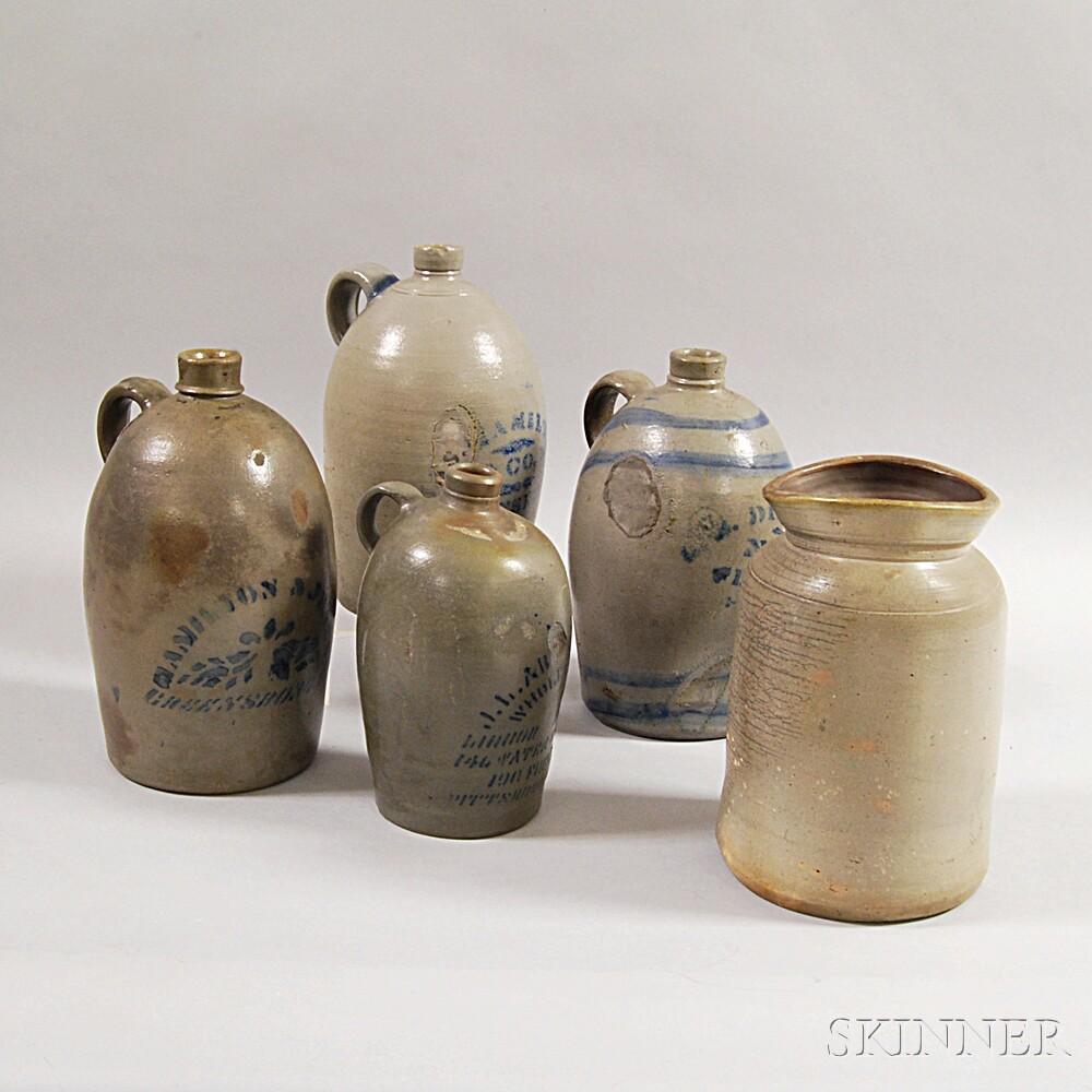 Five Pennsylvania Stoneware Vessels