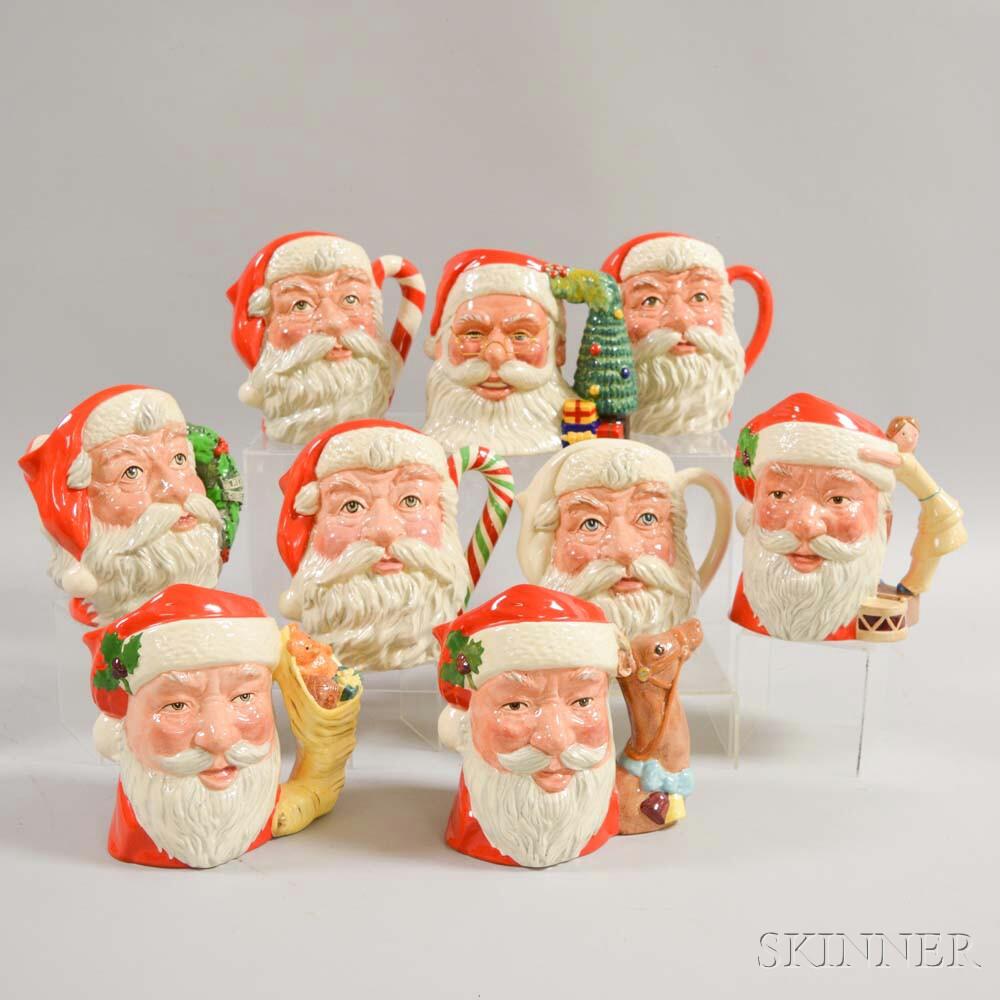 Nine Royal Doulton Ceramic Santa Claus Character Jugs.     Estimate $300-500