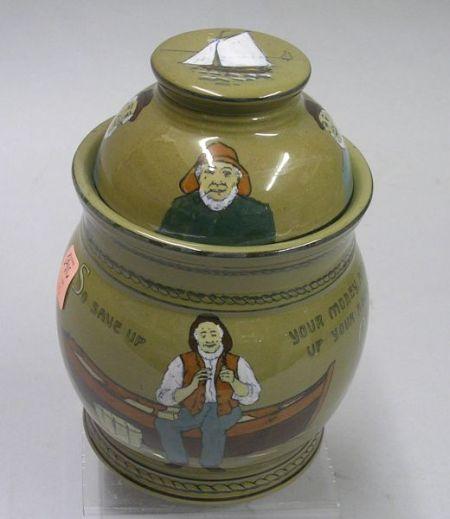 Buffalo Pottery Deldare Ware Sailor Motto Humidor with Cover