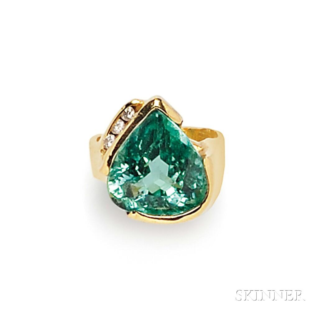 18kt Gold, Tourmaline, and Diamond Ring