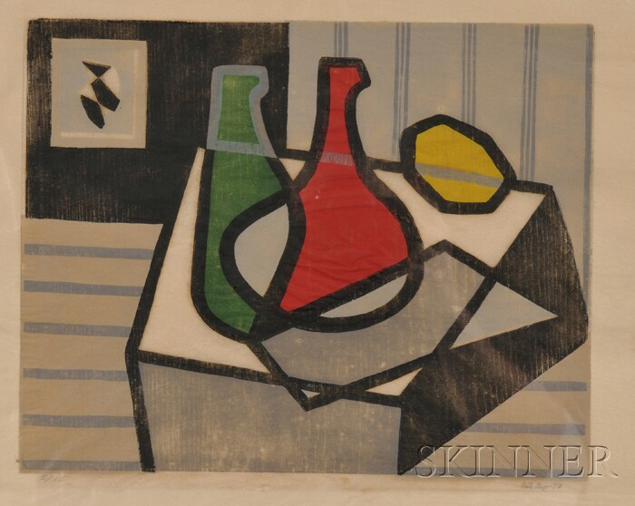 Continental School, 20th Century      Still Life with Bottles and Lemon