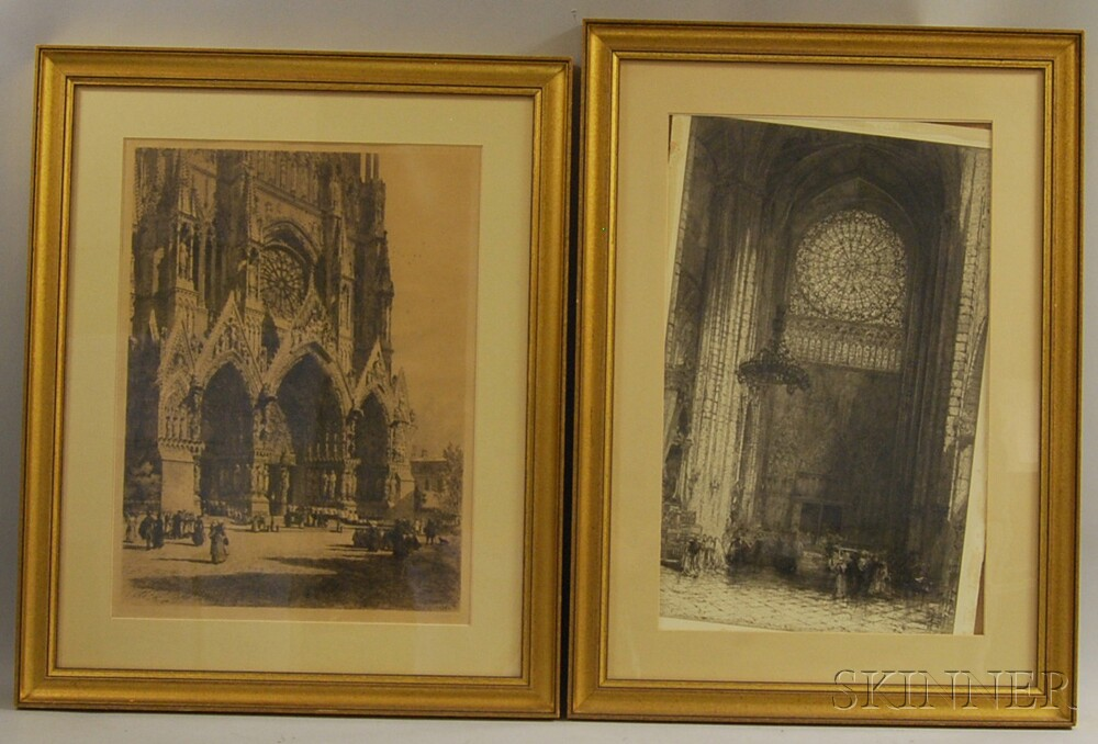 Four Framed Works: Axel H. Haig (Swedish, 1835-1921), The Portals of Reims Cathedral; Hedley Fitton (British, 1859-1929), Rosslyn Chape