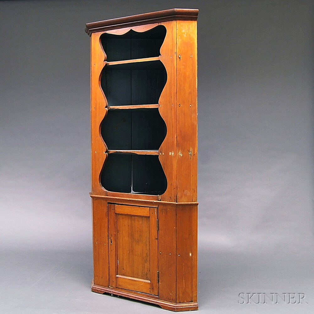 Carved Pine Two-piece Corner Cupboard