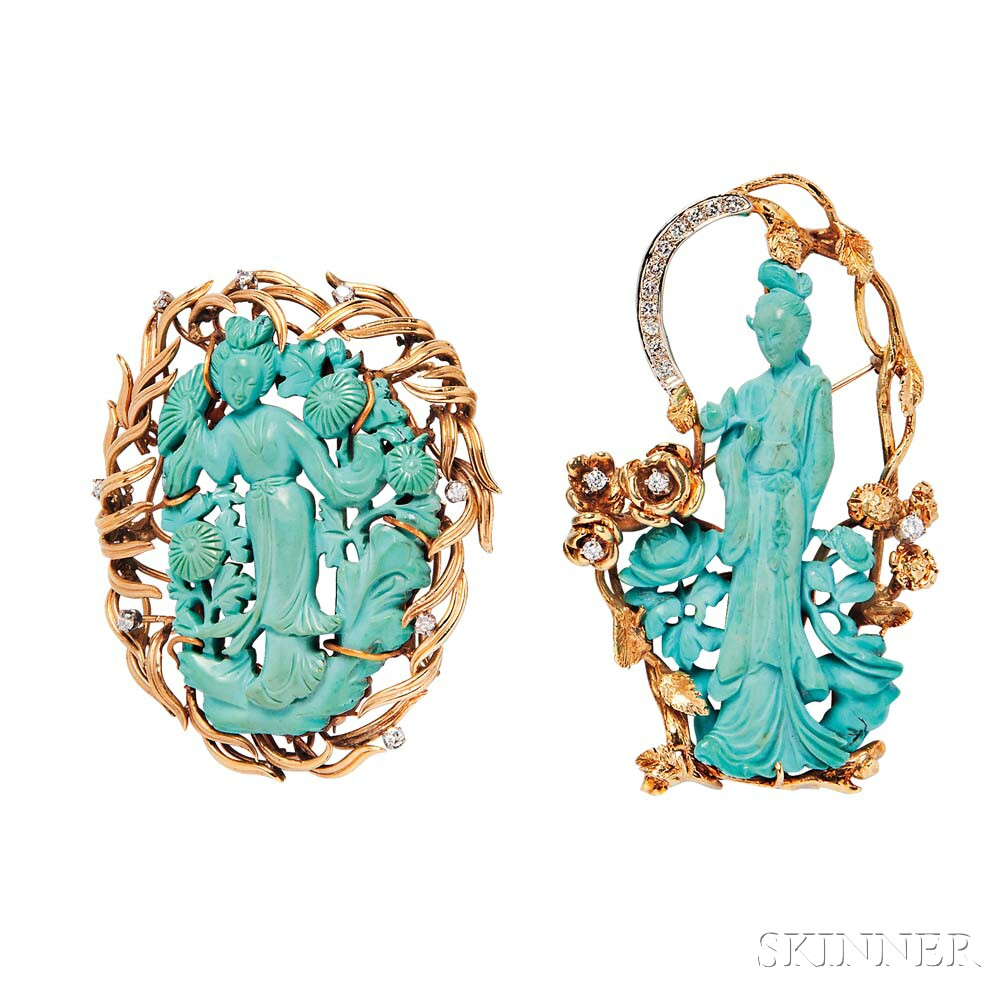 Two Gold Reconstituted Turquoise Brooches