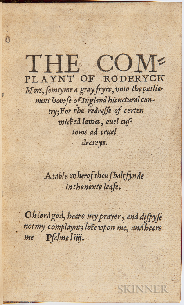 Brinkelow, Henry (d. 1546) The Complaynt of Roderyck Mors, Somtyme a Gray Fryre.