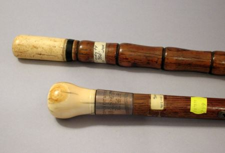 Two Whalebone-mounted Oak and Elmwood Walking Sticks