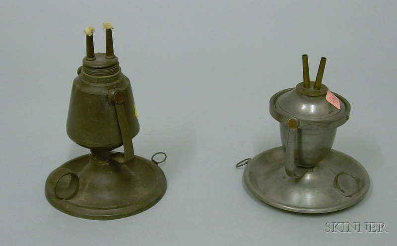 Two Trunnion Pewter Hand Lamps