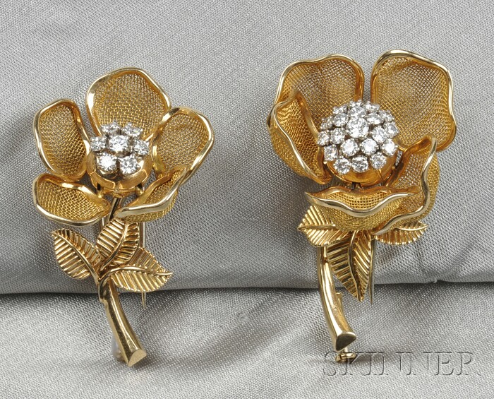 Two 18kt Gold Flower Brooches, France