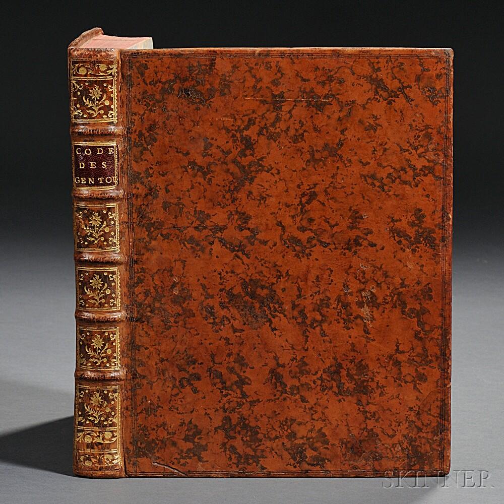 Code des Loix des Gentoux, ou Reglemens des Brames, Traduit de lAnglais, dapres les Versions faites de loriginal ecrit en Langue Sam