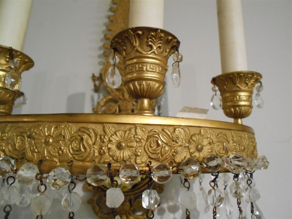 Pair of Empire-style Gilt-bronze and Crystal Wall Sconces