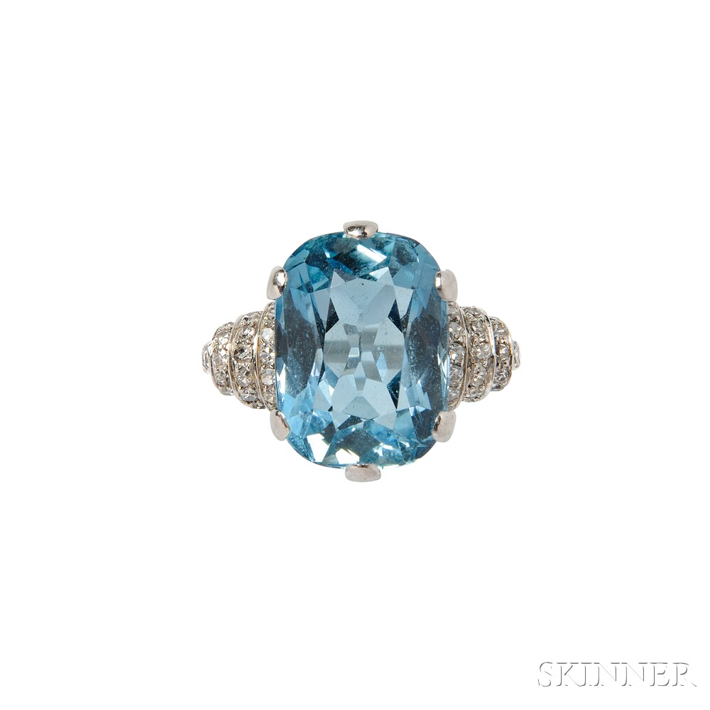 Art Deco Platinum, Aquamarine, and Diamond Ring