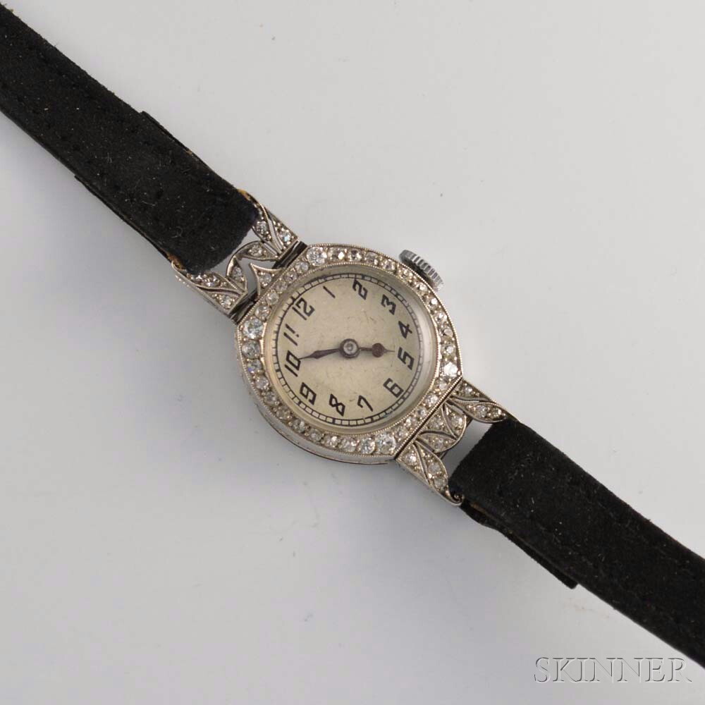 Lady's Art Deco Platinum and Diamond Wristwatch