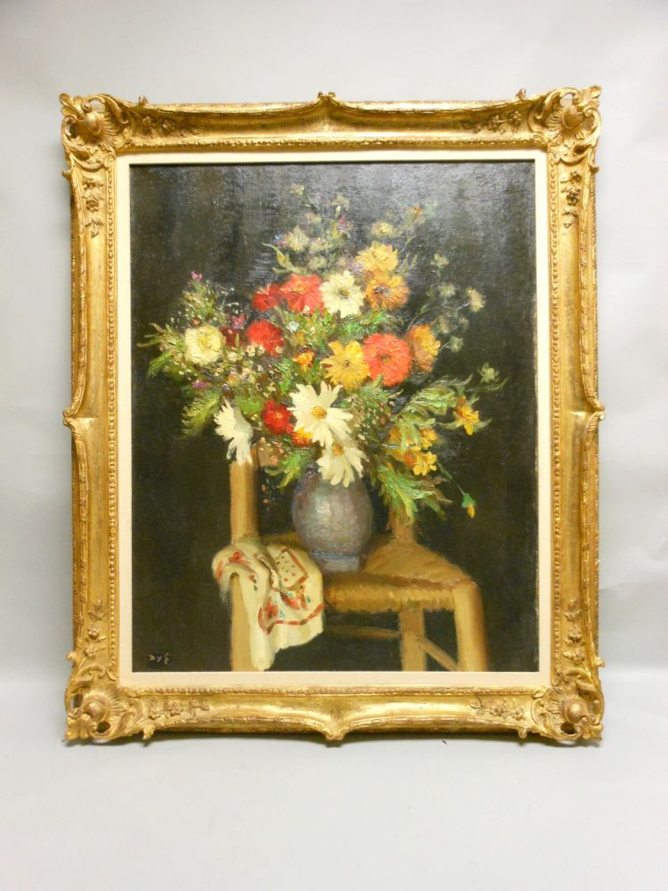 Marcel Dyf (French, 1899-1985)      Still Life with Flowers and Chair