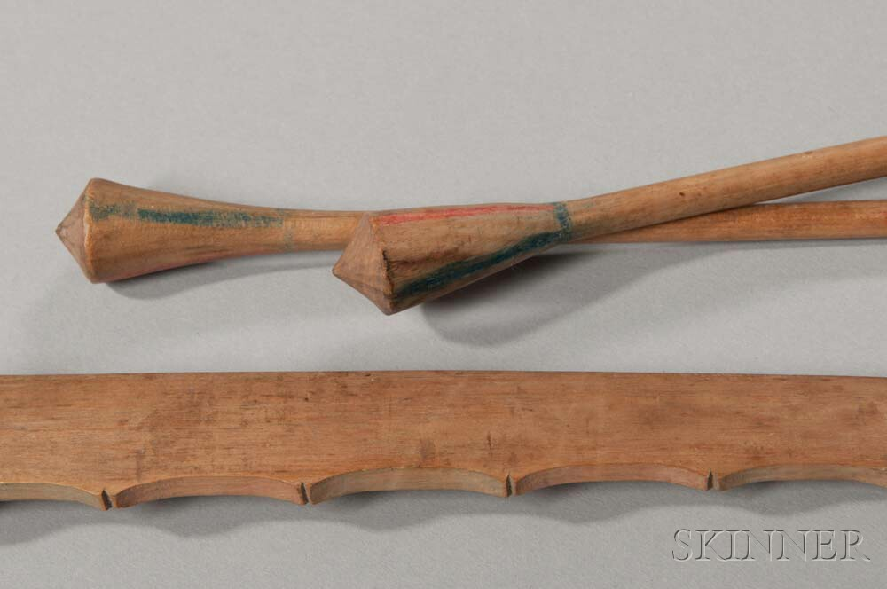 Ojibwa Carved Wood Child's Bow and Two Blunt-tipped Arrows