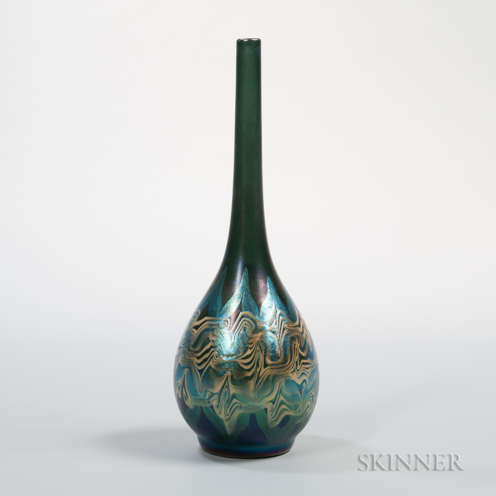 Tiffany Blue Favrile Decorated Vase
