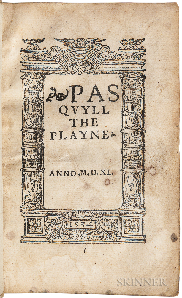Elyot, Sir Thomas (1490?-1546) Pasquyll the Playne.