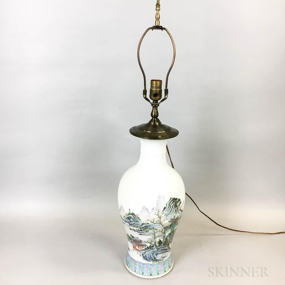 Famille Rose Porcelain Baluster Vase