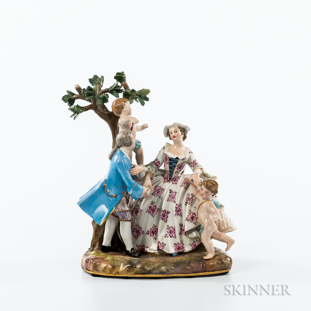 Meissen Porcelain Figural Group with Couple and Children