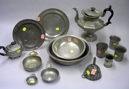 Fourteen Pieces of Mostly English Pewter Tableware
