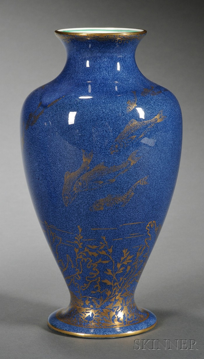 Wedgwood Bone China Powder Blue Fish Vase