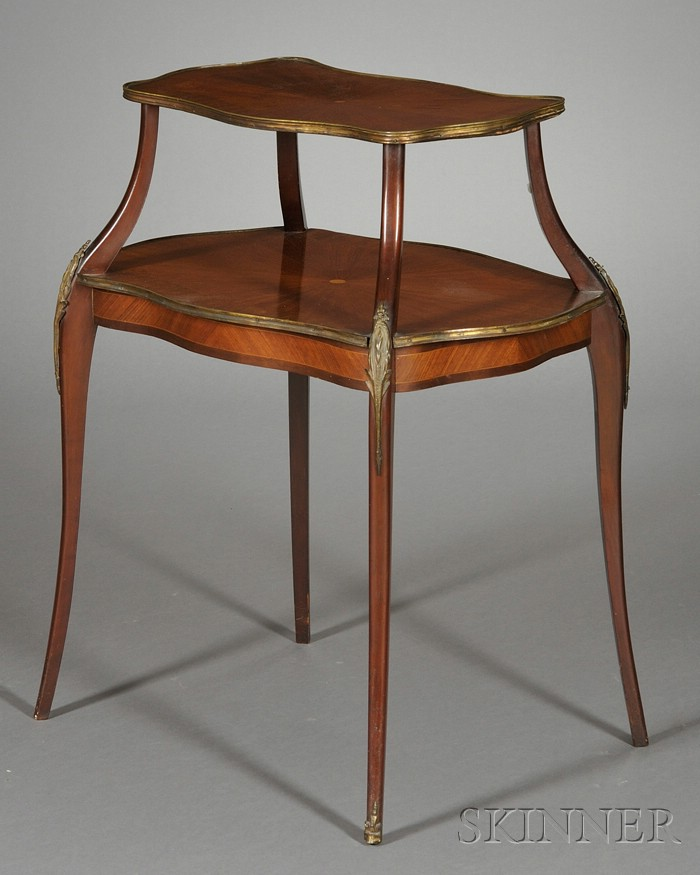 Louis XV Style Tulipwood Parquetry and Brass-mounted Two-tier Occasional Table.