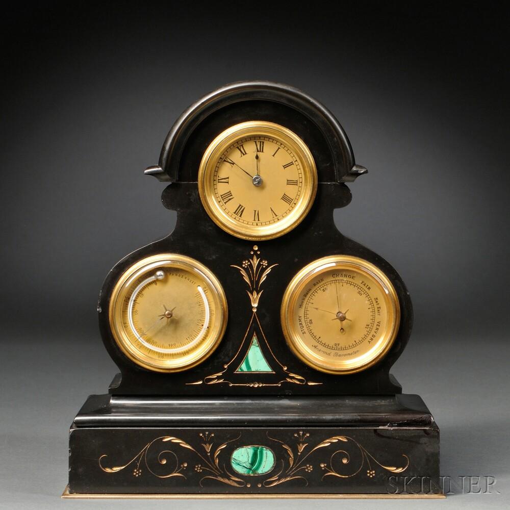 Miniature French Triple Dial Desk Clock