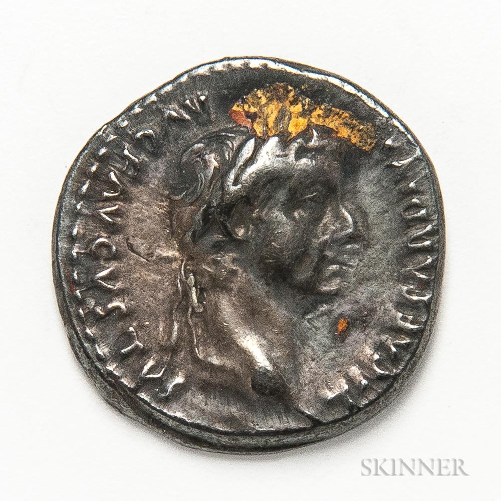 """Roman Empire, Tiberius AR Denarius, """"Tribute Penny"""" Type.     Estimate $200-300"""